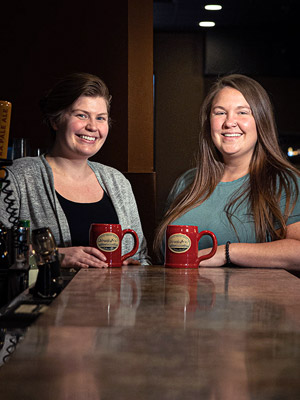 Toni Hanson and Maria Horn - Front House Managers at JavaVino in La Crosse, Wisconsin.
