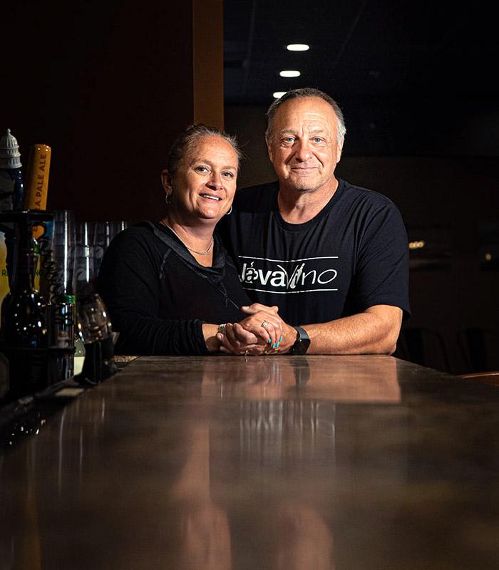 Tina and Howard Schumaker - Owners of JavaVino in La Crosse, Wisconsin.